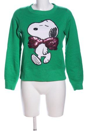 Essentiel Antwerp Sweatshirt grün-weiß Motivdruck Casual-Look