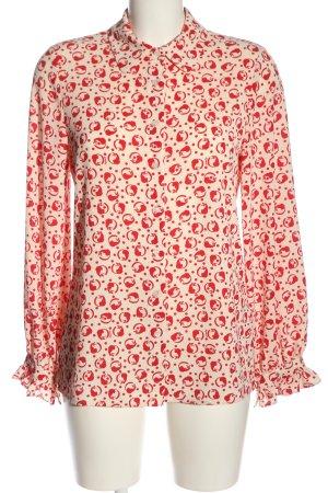 Essentiel Camicia blusa crema-rosso stampa integrale stile professionale