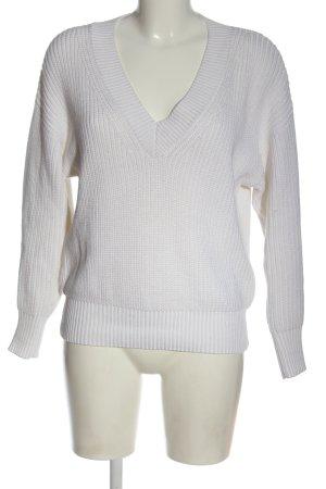 Essentiel Maglione con scollo a V bianco stile casual