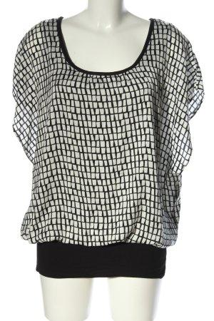 Estelle Jolie Kurzarm-Bluse weiß-schwarz Allover-Druck Casual-Look