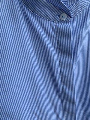 Eterna Blouse-chemisier blanc-bleu azur coton