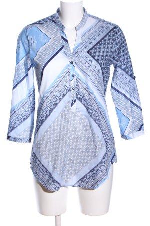 Eterna Hemd-Bluse blau-weiß Allover-Druck Casual-Look