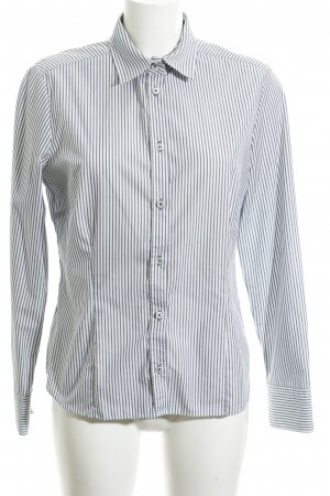 Eterna Blouse-chemisier blanc-bleu motif rayé style d'affaires