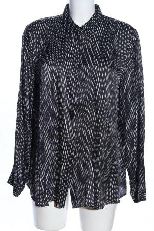 Eterna Hemd-Bluse schwarz-weiß Allover-Druck Business-Look