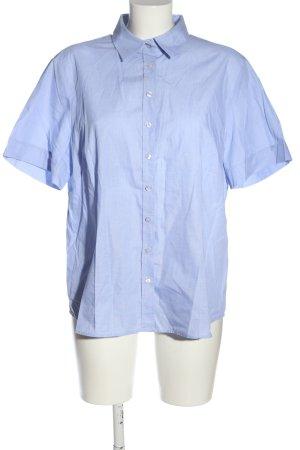 Eterna Kurzarm-Bluse blau Webmuster Casual-Look