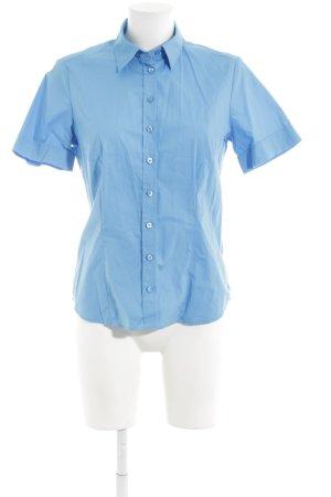 Eterna Kurzarm-Bluse neonblau klassischer Stil