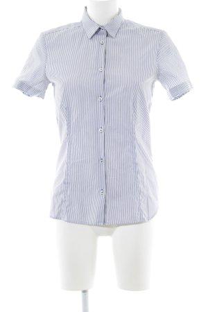 Eterna Kurzarm-Bluse weiß-dunkelblau Streifenmuster Casual-Look