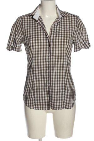 Eterna Camicia a maniche corte marrone-bianco motivo a quadri stile casual
