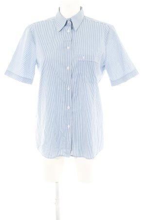 Eterna Kurzarmhemd blau-weiß Streifenmuster Casual-Look