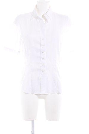 Eterna Chemise à manches courtes blanc motif rayé style décontracté