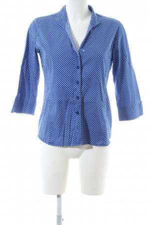 Eterna Langarm-Bluse blau-weiß Allover-Druck Business-Look