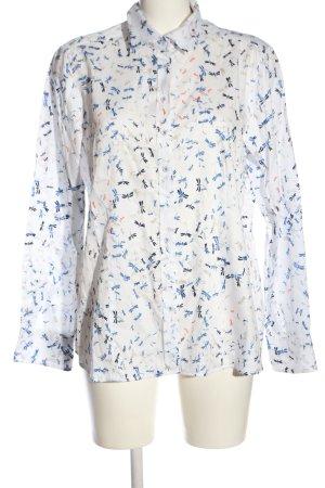 Eterna Langarmhemd weiß-blau Allover-Druck Casual-Look