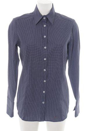 Eterna Langarmhemd blau-weiß Punktemuster Business-Look