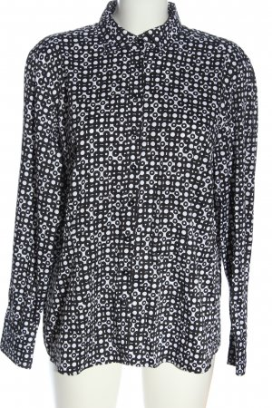 Eterna Langarmhemd schwarz-weiß Allover-Druck Casual-Look