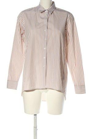 Eterna Langarmhemd weiß-nude Streifenmuster Casual-Look