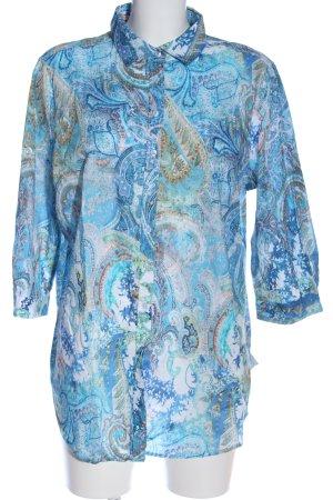 Eterna Langarmhemd wollweiß-blau Allover-Druck extravaganter Stil