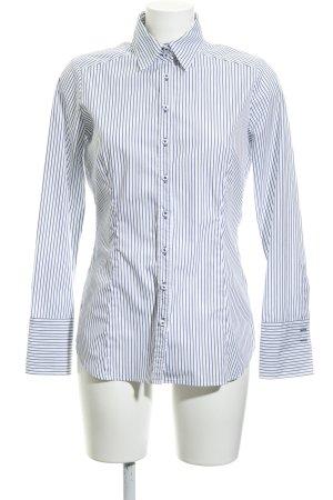 Eterna Langarmhemd wollweiß-graublau Streifenmuster schlichter Stil