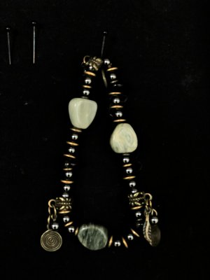 Ethno Armband gold messing Halbedelstein Perle silber Boho