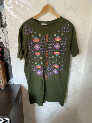 Ethno Hippie Shirtkleid Longshirt Von Zara Dunkelgrün bunt gemustert Gr M