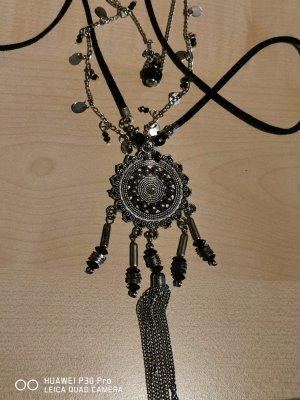 Ulla Popken Statement Necklace black-silver-colored