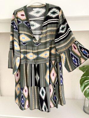 Made in Italy Vestido tipo túnica caqui-negro