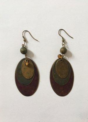 Ethno-Ohrringe | Ohrhänger | Ohrringe in Safari-Farben khaki braun grün oliv