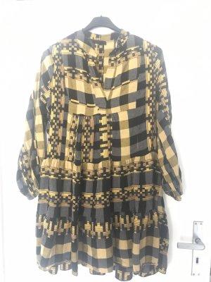 Robe chemise noir-jaune