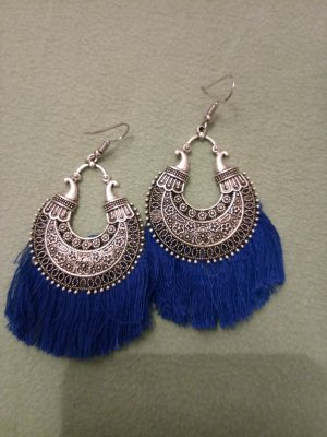 Pendientes colgante color plata-azul