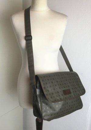 * ETIENNE AIGNER * Messenger BAG SCHULTER TASCHE grau grün LKW-PLANE bedruckt - VINTAGE Rarität - SCHULTERTASCHE CROSSBODY