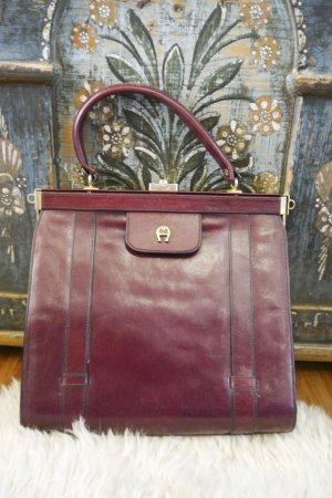 Etienne Aigner Vintage Leder Handtasche Echtleder Burgunder Rot Gold Retro Usedlook