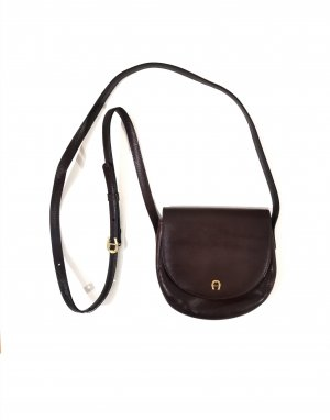 Aigner Crossbody bag gold-colored-dark brown leather