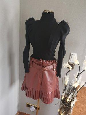 Etikat Falda de cuero de imitación marrón-coñac