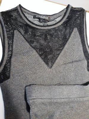 Dzianinowy podwójny zestaw  szary-czarny Wiskoza