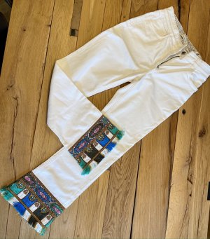 Mother Boot Cut Jeans white cotton