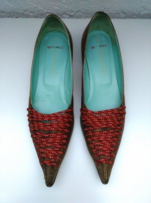 ETRO Leder Spitze Pumps Gr.39,5 Braun Rot Made in Italy