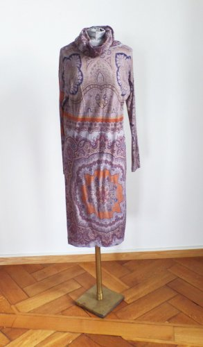ETRO Milano Dress Kleid Bombay Paisley Rollkragen Kaschmir Stickkleid IT 42