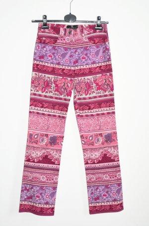 Etro Milano Hose Jeans Floral Paisley Pink rosa Fuchsia IT 42