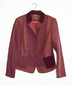ETRO Milano Woll Tweed Blazer Jacket Beerentöne IT 46 Samt Muster Mix Wolle