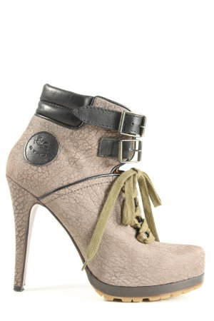 Etro Lace-up Booties natural white-black casual look