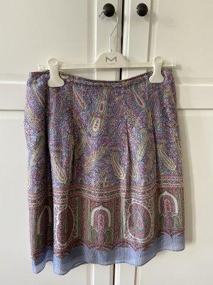 Etro Falda de seda azul celeste-púrpura