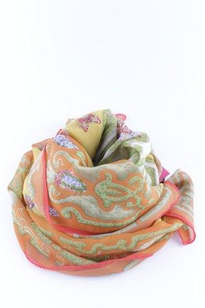 Sciarpa di seta arancione chiaro-verde motivo astratto stile professionale