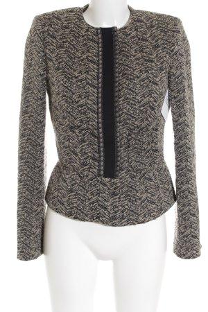Etro Woll-Blazer schwarz-sandbraun Textil-Applikation