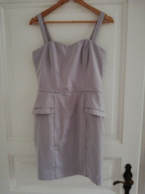 H&M Sukienka z baskinką jasnoszary-szaro-liliowy
