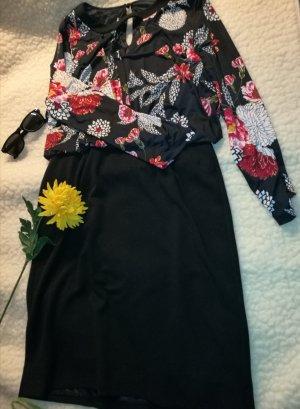 Etuikleid Bleistiftkleid Wickelkleid Abendkleid Winterkleid schwarz rot Blumen langärmlig Weihnachten Silvester XL 42