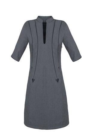 Etuikleid, Kleid im Businesslook, schmales Kleid, grau