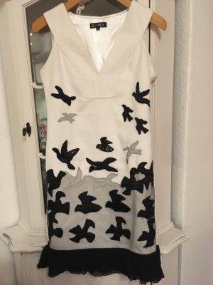 Vestido estilo flounce blanco-negro Algodón