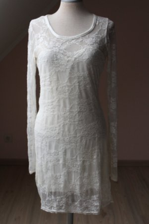 Etuikleid Spitzenkleid Kleid kurz boohoo Gr. 38 S M weiß creme vanille Langarmkleid