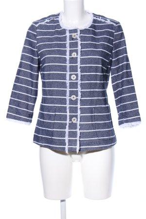 Eugen Klein Jeansblazer blau-weiß Streifenmuster Casual-Look