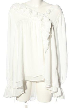 Eureka Bluzka z falbankami biały Elegancki