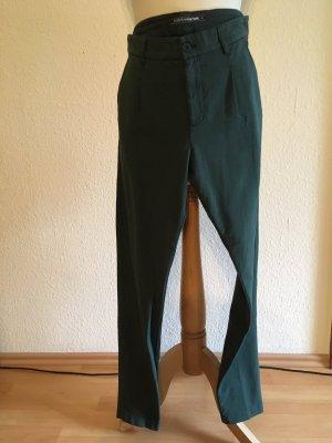 European Culture Pantalon à pinces bleu pétrole coton